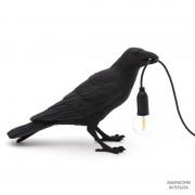 Seletti14735 — Настольный светильник в форме черного ворона Bird Lamp Black Waiting